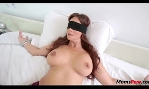 Perv lass copulates mom's indiscretion when shes blindfolded!
