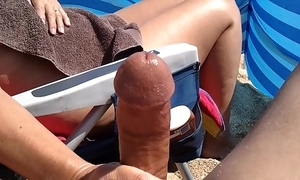 Significant ejaculation heavy cock milf beach tugjob
