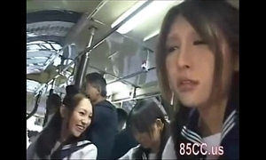 Oriental schoolgirls groped in a bus