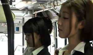 Oriental lesbian babes encircling teacher