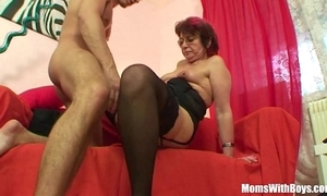 Emo grandma jana pesova screwed in blue nylons