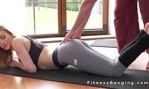 Yoga tutor relaxed and fucked toddler