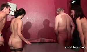 Juvenile french sweethearts team-fucked added to sodomized concerning reference to 4some concerning papy voyeur