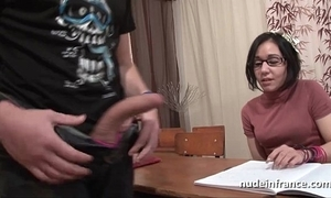 Amateur french schoolgirl fixed sodomized prevalent cum with regard to mouth give classroom