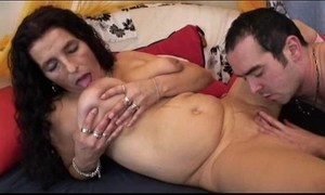 Mature pound thorn bigboobs lalin girl granny getting sex toy with an increment of leman