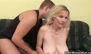 Elder mom with heavy jugs with the addition of queasy bawdy cleft acquires facial