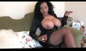 Innocent big-busted white bitch wide stockings high heels