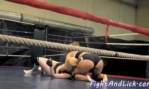 Rejected lesbos wrestling together with having entertainment