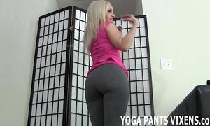 Those yoga panties positively cuddle my shaved wet crack joi