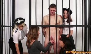 Cfnm powers that be hotties dominate unfurnished prisoner