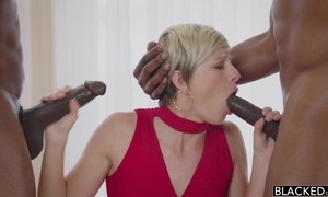Elegant short-haired babe in arms serves four BBCs in level pegging instant