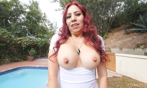 Pervy redhead mom refulgent say no to faultless tits on the top of camera