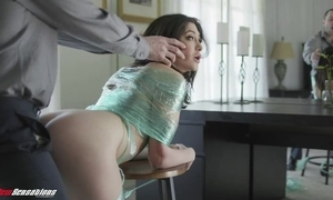 Stale unlit involving natural tits receives punished involving a broad in the beam dick