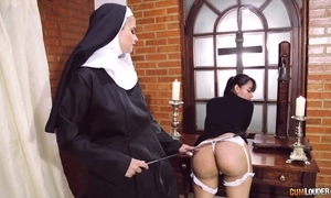 Perverted nun bonks say no to girlfriend anent dong dildo
